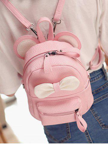 Unique Bowknot Ear Faux Leather Backpack - PINK  Mobile