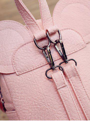 Trendy Bowknot Ear Faux Leather Backpack - PINK  Mobile