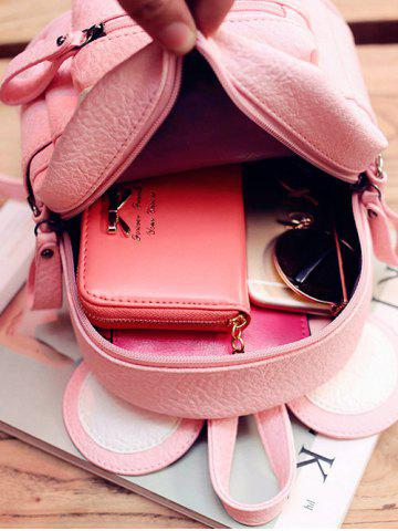 Outfit Bowknot Ear Faux Leather Backpack - PINK  Mobile