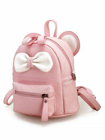 Cheap Bowknot Ear Faux Leather Backpack - PINK  Mobile