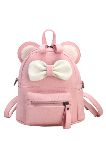 Affordable Bowknot Ear Faux Leather Backpack PINK