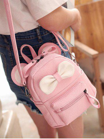 Best Bowknot Ear Faux Leather Backpack - PINK  Mobile