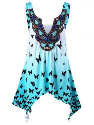 Hot Plus Size Ombre Butterfly Asymmetric Tank Top - 5XL BLUE Mobile