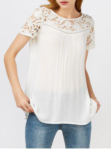 Trendy Lace Hollow Out Panel Criss Cross Flowy Blouse WHITE M