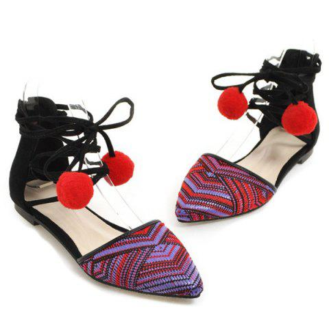 Hot Tie Up Pompoms Flat Shoes - 37 RED Mobile