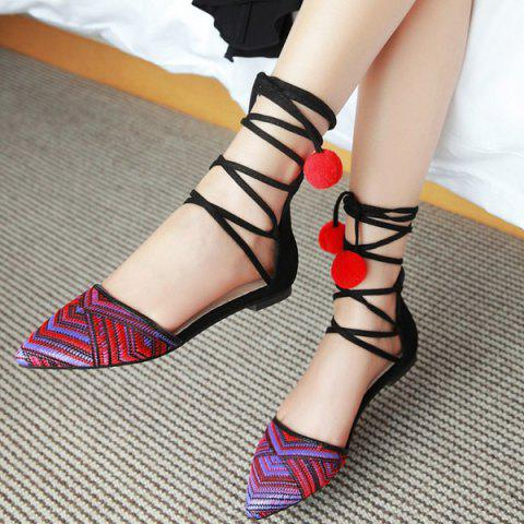 Store Tie Up Pompoms Flat Shoes - 37 RED Mobile