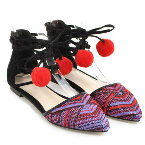 Chic Tie Up Pompoms Flat Shoes - 37 RED Mobile