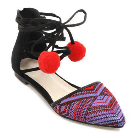 Latest Tie Up Pompoms Flat Shoes - 37 RED Mobile