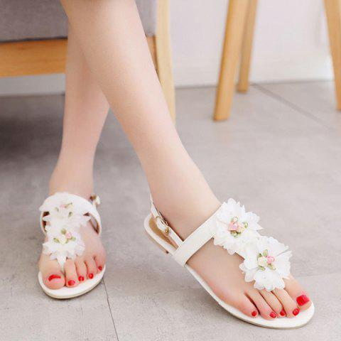 Fancy PU Leather Flowers Sandals - 37 WHITE Mobile