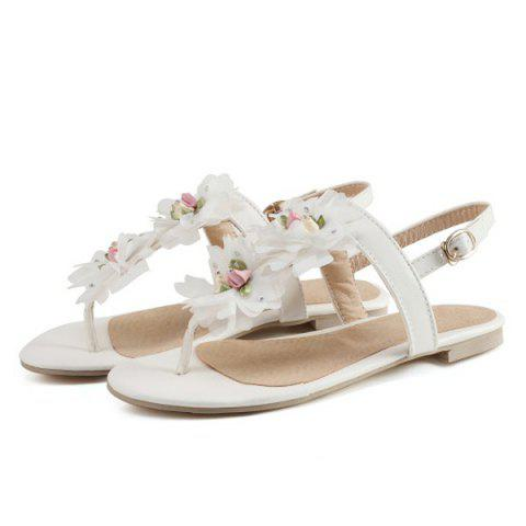 Shop PU Leather Flowers Sandals - 37 WHITE Mobile