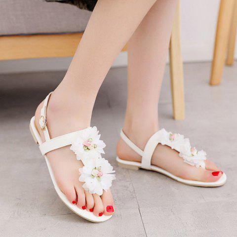 Outfit PU Leather Flowers Sandals - 37 WHITE Mobile