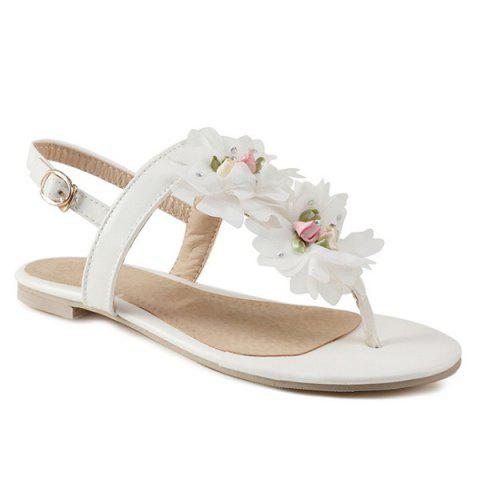 Store PU Leather Flowers Sandals - 37 WHITE Mobile