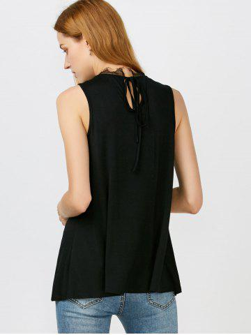 Discount Lace Panel Tie Back Tank Top - M BLACK Mobile