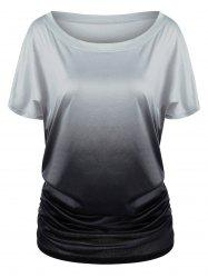 Ombre Shirred Side Plus Size Long T-Shirt