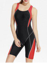 Color Block Backless Exercise Swimwear