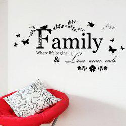 Family Butterfly Quote Stickers muraux pour salon - Noir