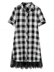 Lace Trim Plaid Check Plus Size Shirt Dress
