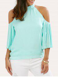 Cold Shoulder Pleated Chiffon Blouse