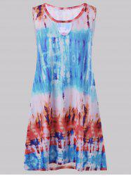 Keyhole Tie Dye Mini Sleeveless Dress - SKY BLUE