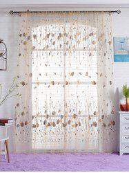 Voile Fabric Leaf Transparent Window Curtain