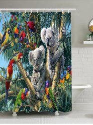 Parrot Koala Print Waterproof Shower Curtain