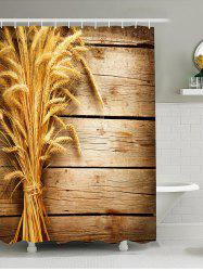 Waterproof 3D Wheat Wooden Print Shower Curtain