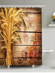 3D Wooden Wheat Bread Waterproof Shower Curtain