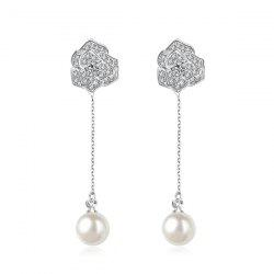 Faux Pearl Chain Flower Drop Earrings