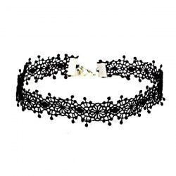 Vintage Floral Crochet Choker Necklace - BLACK