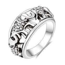 Rhinestone Circle Elephant Ring - Argent