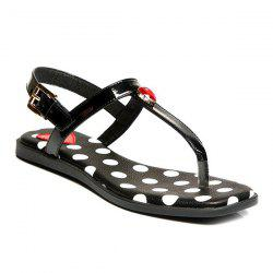 Faux Leather Polka Dot Sandals