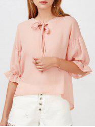 V Neck Puff Sleeve Chiffon Top