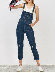 Denim Ripped Overalls - CERULEAN