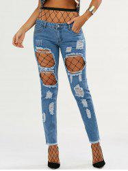 High Waisted Fishnet Tights with Ninth Ripped Jeans