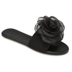 Elastic Band Flower Slippers - BLACK