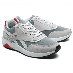 Color Block Suede Breathable Athletic Shoes - GRAY