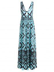 Empire Waist Cut Out Geometric Print Dress
