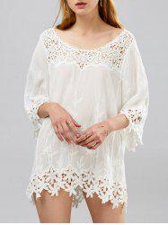 Crochet Lace Insert Mini Beach Shift Dress with Sleeves