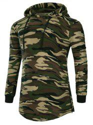 Long Sleeve Hooded Side Zip Up Design T-Shirt - CAMOUFLAGE