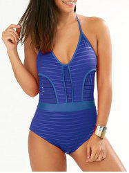 Low Cut Halter One Piece Striped Swimwear
