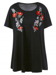 Long Casual Plus Size Embroidered Floral T-Shirt
