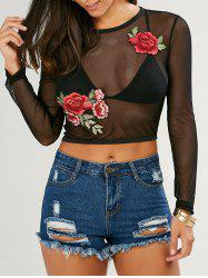 Long Sleeve Embroidered See Through Belly Top - BLACK