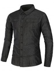 Pockets Turndown Collar Zip Up Design Work Shirt