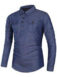 Pockets Turndown Collar Half Button Chambray Shirt