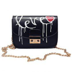 Letter Printed Chain Crossbody Bag