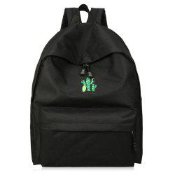 Cactus Embroidered Candy Color Backpack - BLACK