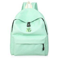Cactus Embroidered Candy Color Backpack - GREEN