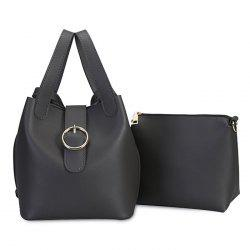 Round Buckle Cross Body Bucket Bag