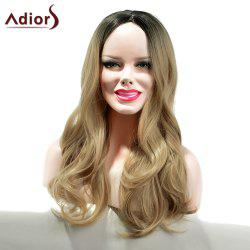 Adiors Long Gradient Dyeing Middle Part Wavy Synthetic Wig