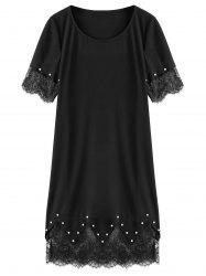 Pearl Embellished Plus Size Lace Tim Dress